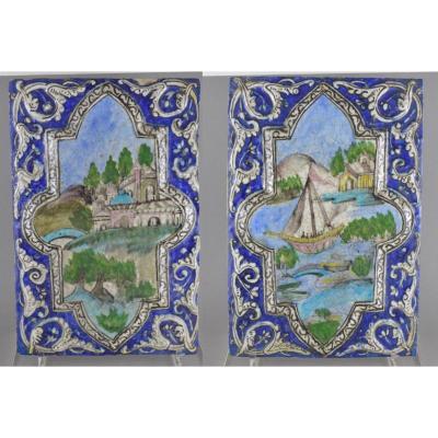Paire De Grands Carreaux En Céramique Perse à Décor Paysages 19ème