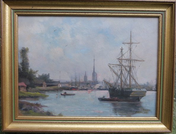 Painting Signed, Located And Dated. Port Of Rouen Jules Vernier 1892