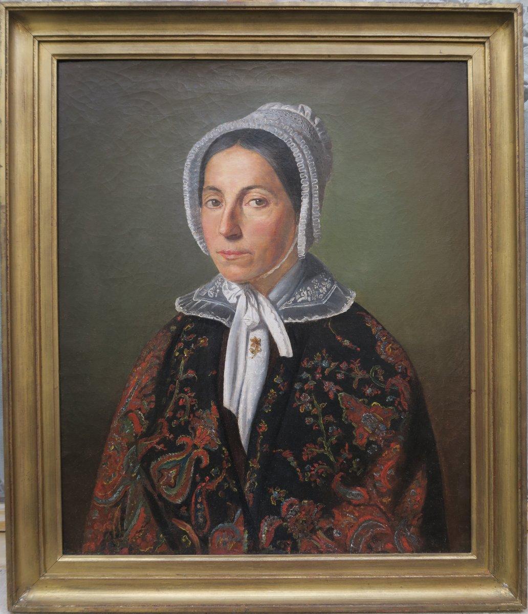 Portrait Femme Au Cachemire XIX
