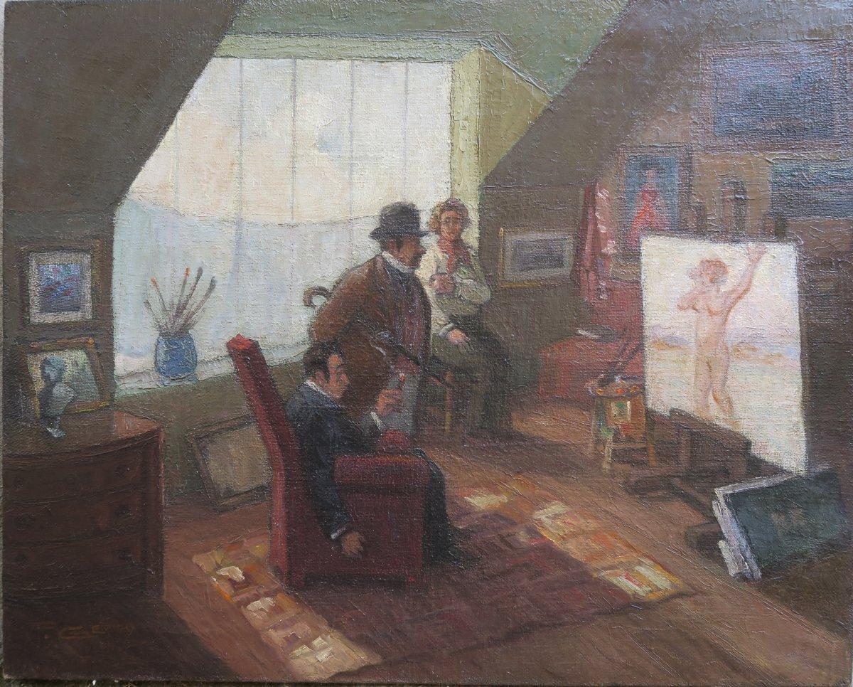 Humorous Portrait Art Deco, Customers Visiting The Painter's Studio
