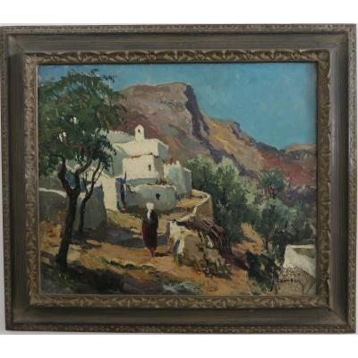 Peinture Signée Maurice Martin ( 1894-1978 ) Paysage Rhodes