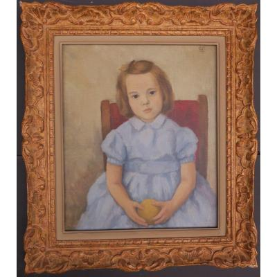 Portrait Young Girl 1950s Monogrammed