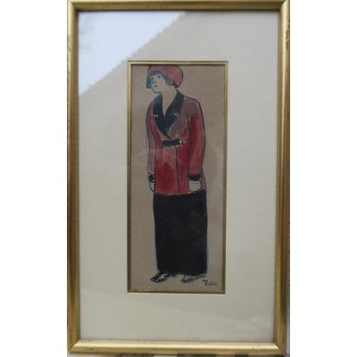 Charming Art Deco Drawing Signed Piet (fernand) 1869-1942