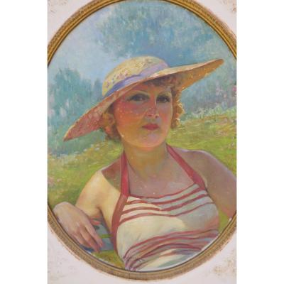 A Vacation Air! Maurice Milliere (1871-1946) Le Bain De Soleil