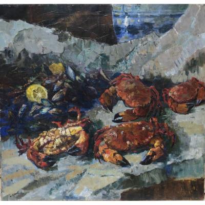 Les Tourteaux By Léon Londot (1878-1953) Marine Still Life