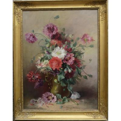 Large Bouquet Of Flowers End XIX Signed In An Empire Frame