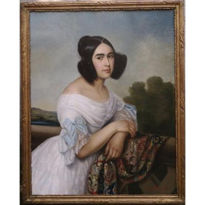 Very Large Portrait Woman Louis Philippe 1839 Signed