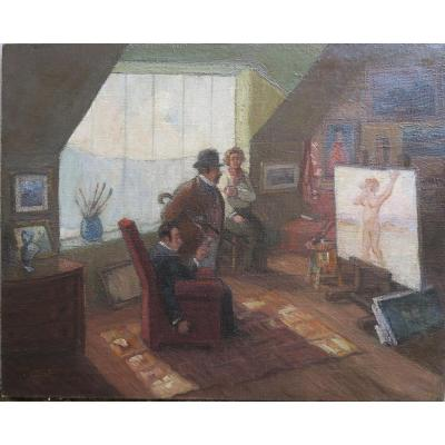 Humorous Portrait Art Deco, Customers Visiting The Painter's Studio