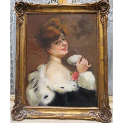 Portrait 1900 Femme Buvant Du Thé Dans Son Cadre