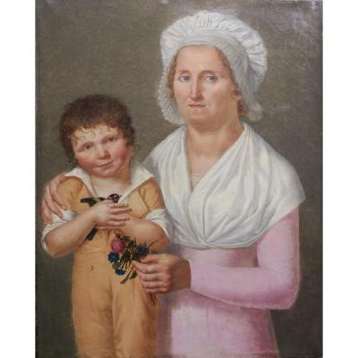 Portrait Woman And Child With Bird Empire Period