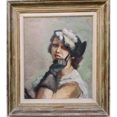 Portrait Femme Art Déco Signé Charles Picart Le Doux ( 1881-1959 )