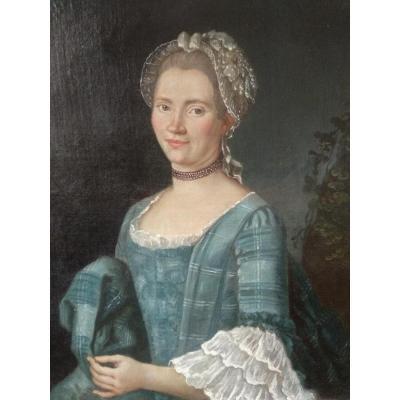 Portrait Femme Louis XVI à la Traîne