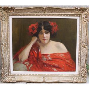 Portrait De Femme Aux Pavots Daté 1903 Et Signé Brindeau