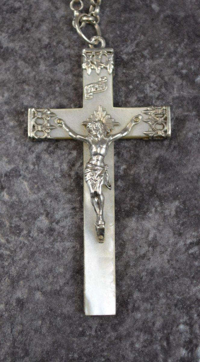 Grande Croix Religieuse En Nacre Et Argent Massif