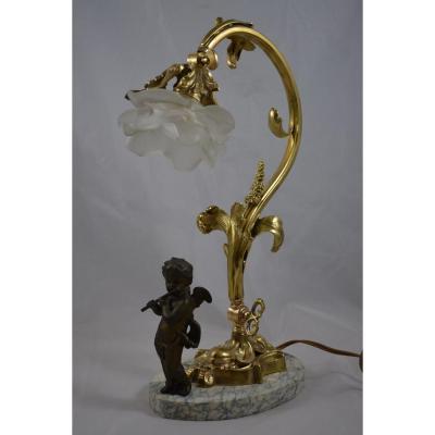 Lampe De Bureau En Bronze Avec Ange