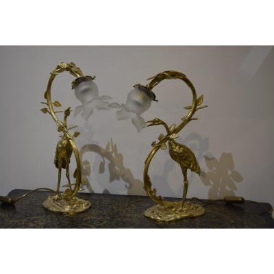 Paire De Lampe Héron En Bronze
