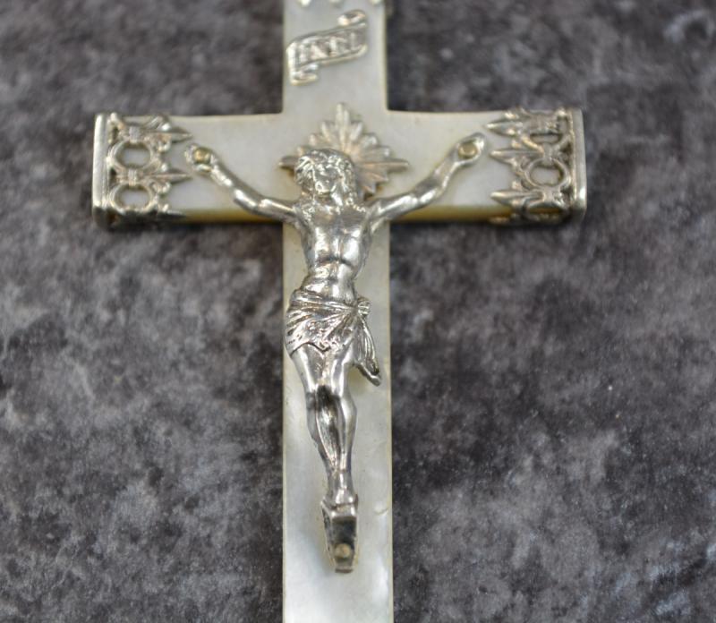 Grande Croix Religieuse En Nacre Et Argent Massif-photo-2