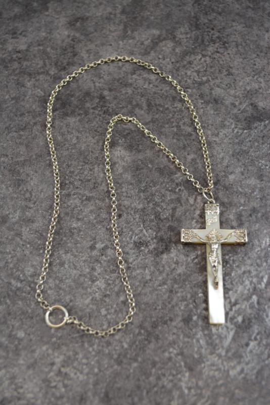 Grande Croix Religieuse En Nacre Et Argent Massif-photo-4