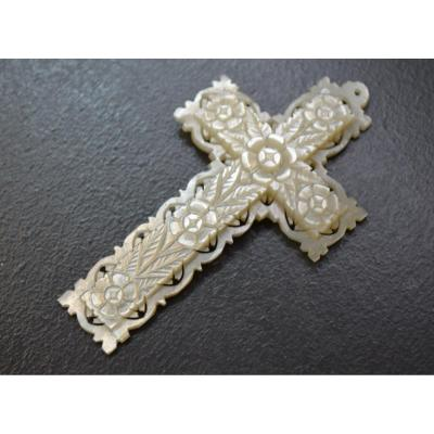 Crucifix Religious Cross In Mother Of Pearl