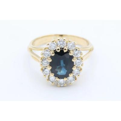 Bague Contemporaine En Or Jaune 18 Carats, Entourage Diamants Et Saphir