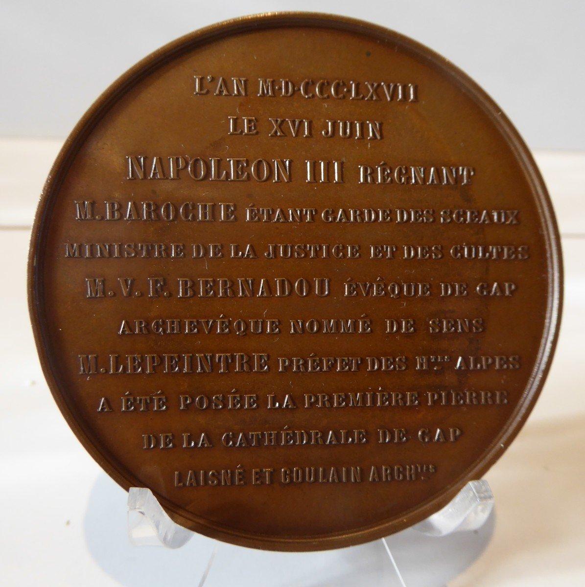 Rare Medaille  :Première Pierre De La Cathédrale De Gap  1867.-photo-4