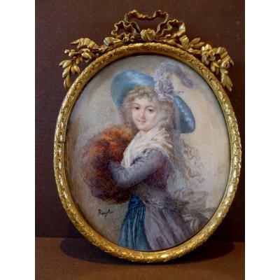 Grande Miniature,19ème Siècle, d'Aprés Elisabeth  Vigée Lebrun.