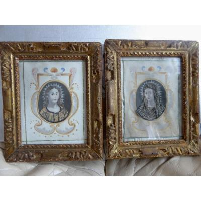 A Pair, Framed Religious Portraits, 17th Century Period.