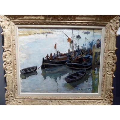 Port Scene By Jean Emile Laurent.