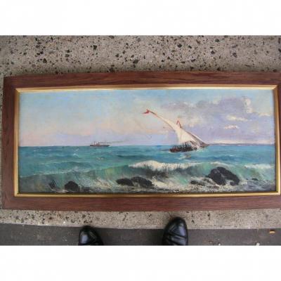 """Long Tableau,""""tartane et vapeur en Méditerranée""""19 ème siècle."""