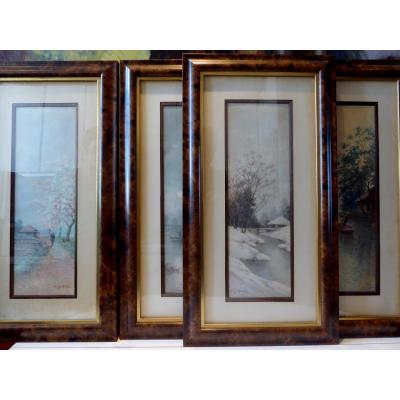 """""""the 4 seasons in Japan"""", Japanese watercolors signed M.Yosuke, painted around 1900/1920. , the frames and Les marie louise watercolors, as well as the wooden backs are original and made in Japan at the time with Japanese materials. The watercolors are glued to the corners with Japanese papers; Beautiful quality of execution and beautiful freshness. in perfect condition. Watercolors photographed with frames and unframed. dimensions without frame: 46x16cms with frame: 63x36 cms"""