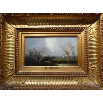 Pair Of Paintings, Landscapes, By Eugène Deshayes, 1828-1890.