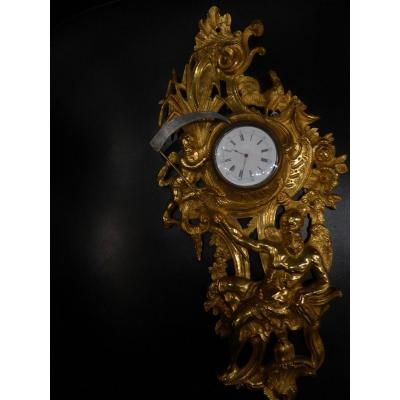 Watch Holder In Gilt Bronze, In The Shape Of A Cartel, 18th Century.