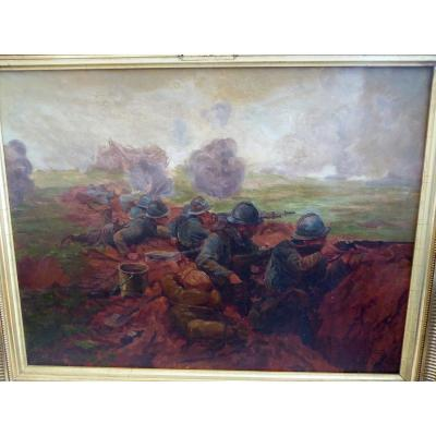 """Rare subject of trenches, during the Great War, a scene certainly experienced by the painter as a soldier, painted a year after these events! Painting signed JM Pierrz and dated 1919, located by the painter: """"combat of Mesnil St Georges, April 15, 1918, 132 nd infantry. Beautiful rendering of the soldiers with details rendering the reality of these fights well (weapons, bags, bottle of wine. .) a beautiful unidentified painter's hand dimensions without frame: 61x46 cms with frame: 73x59 cms Old frame."""