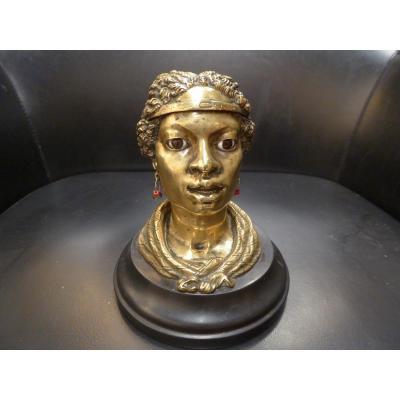 19th Century Inkwell, Bronze, Perlée Hair.