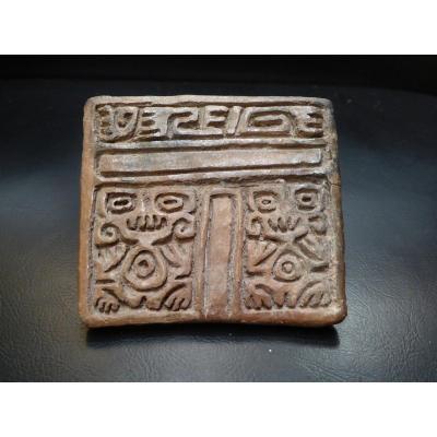 Rare Stamp Seal, Aztec, Post Classic Mexico, 14th Century.