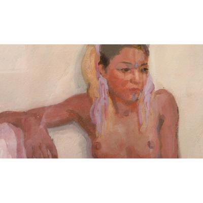 Marcel Vicaire, (1893-1976), Gouache, (double Face) Young Moroccan Woman.