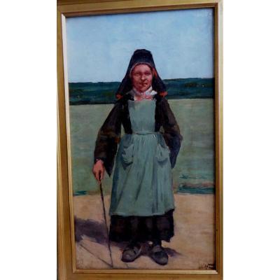 Bretonne By Eugène Leblanc, 19th Century.