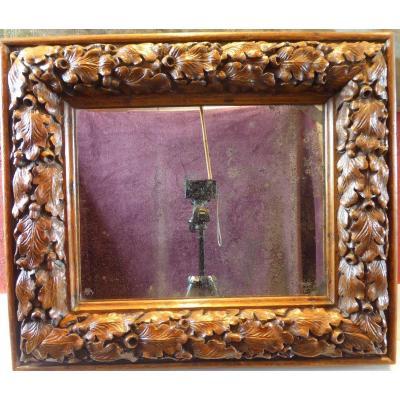 Miroir ,décor Feuilles De Chêne,époque 17ème Siècle