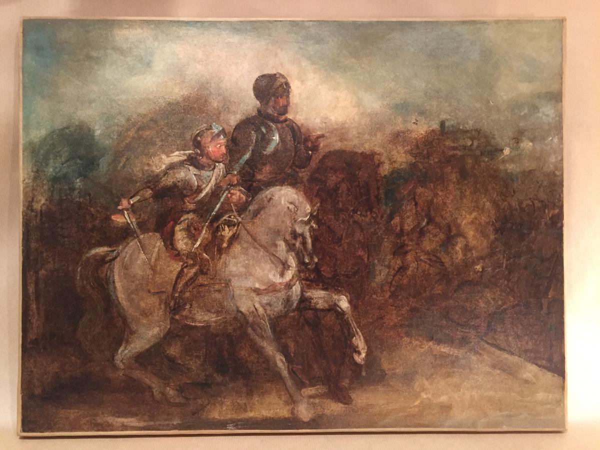 Oil on canvas sketch vintage romantic scene battle