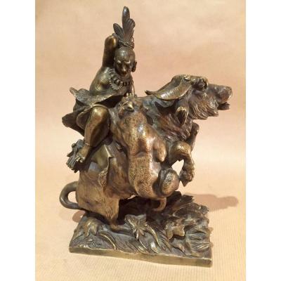 Sculpture Bronze romantique indien sur un bufle