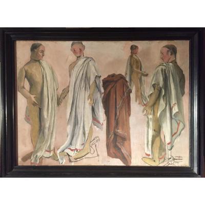 Huile sur toile signée Edmée Larnaudie début XXème étude d'Atelier