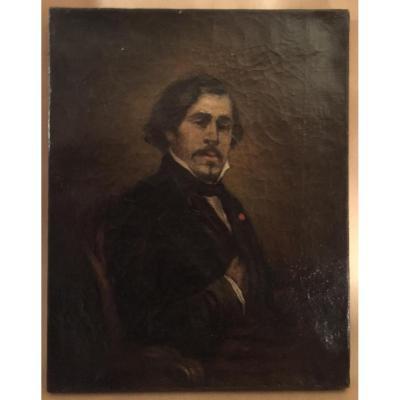 Huile Sur Toile Portrait Du Peintre Eugène Delacroix XIXème