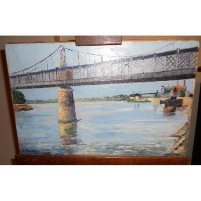 Peinture Paysage Avec Pont Métallique Début XXème