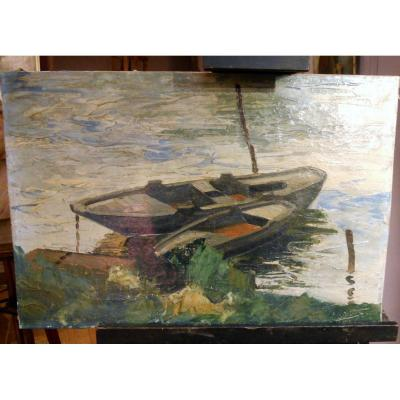 Peinture Tableau Deux Barques Sur Une Rivière Début XXème