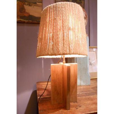 Lampe 1930 Bois Et Ficelle