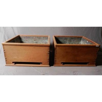 Pair Of Wood And Stone Hibachi
