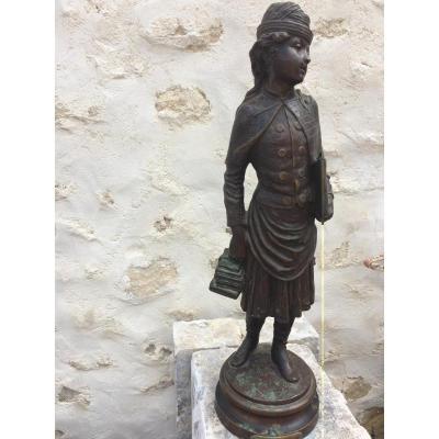 """Statuette Bronze Signée Rousseau"""" l'Ecolière """""""