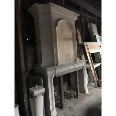 Stone Fireplace With Trumeau