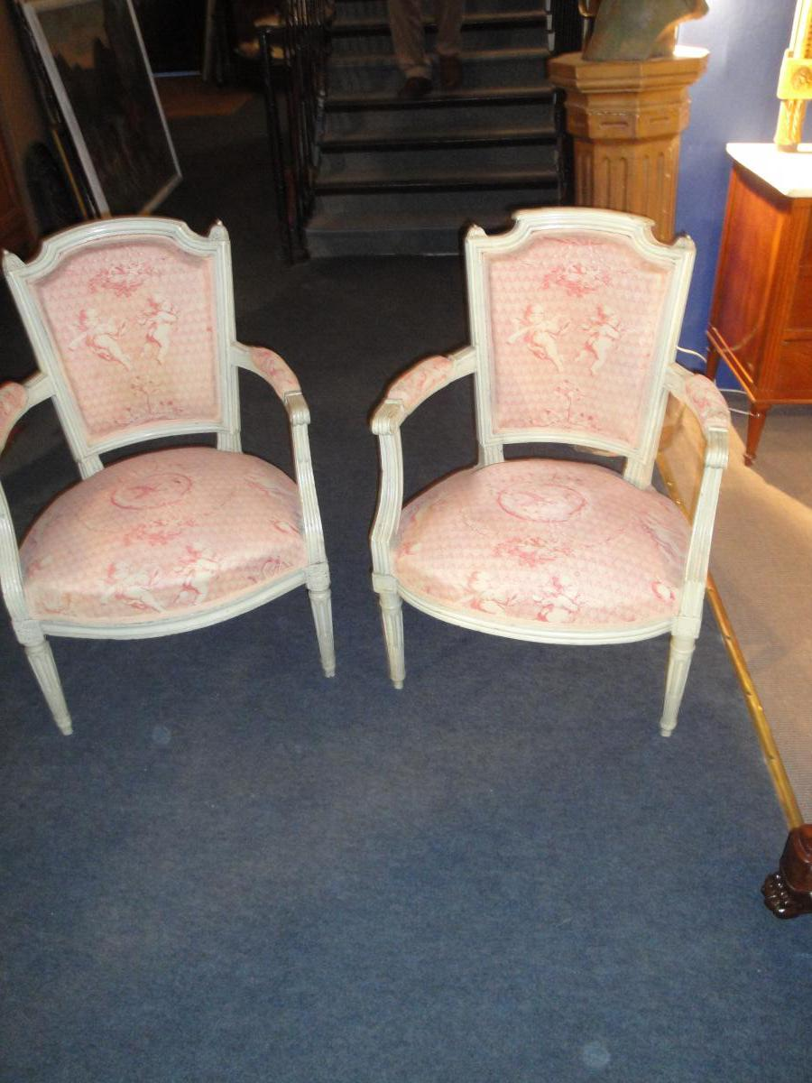 Pair Of Louis XVI Armchairs False Relaqués XVIIIth