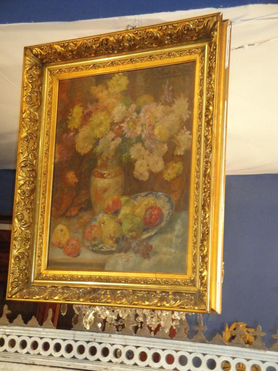 Oil On Canvas Bouquet Of Flowers And Fruit